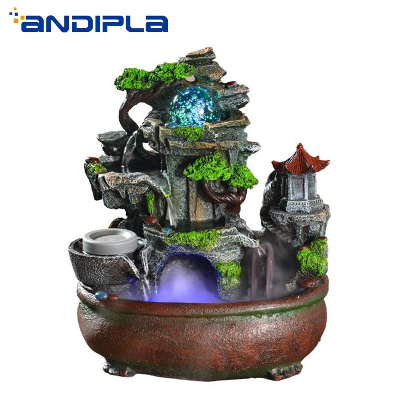 110V 220V Creative Flowing Water Fountain Resin Crafts Feng Shui Wheel Air Humidifier Living Room Office Desktop Ornaments Retro