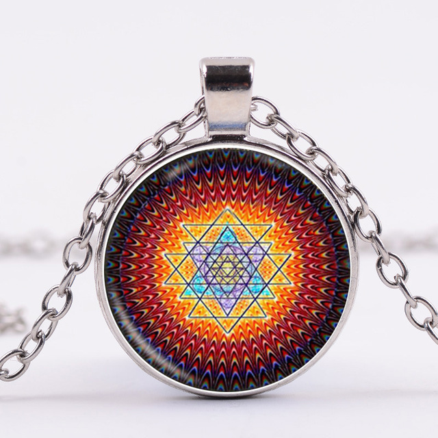 Om Symbol Jewelry With Silverbronze Plated Mandala Flower Shaped