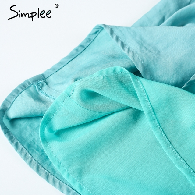 Simplee Elegant hollow out jumpsuit romper women Sexy backless sashes beach overalls Summer bluish green party playsuits