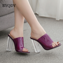 BYQDY Big Size 41 42 Women Sandals PVC Jelly Crystal Heel Transparent Sexy Clear High Heels Summer Valentine Love Pumps