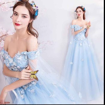 Plus Size 4XL Blue Luxury Party Dress For Women Red Carpet Wedding Off Shoulder Bridal Evening Formal Dress Large Size 5XL