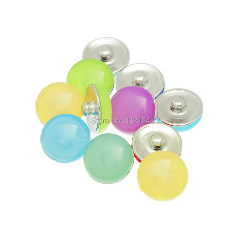 12Pcs Mixed Round Jelly Theme Snap Press Buttons Fit Diy Charms Bracelets Jewelry Component 18mm