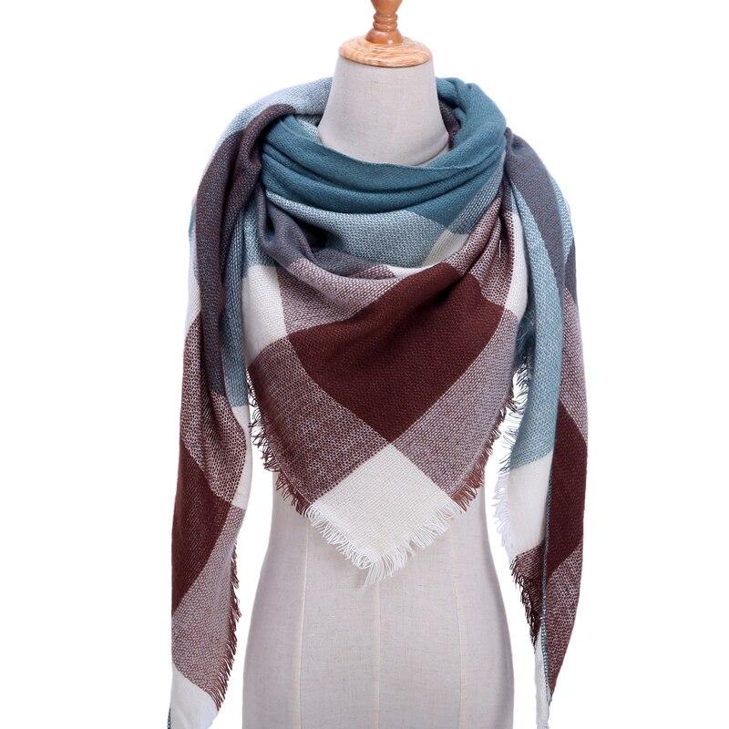 Бандана палантин платок на шею шарф зимний Дизайнер трикотажные весна-зима женщины шарф плед теплые кашемировые шарфы платки люксовый бренд шеи бандана пашмина леди обернуть - Цвет: b17