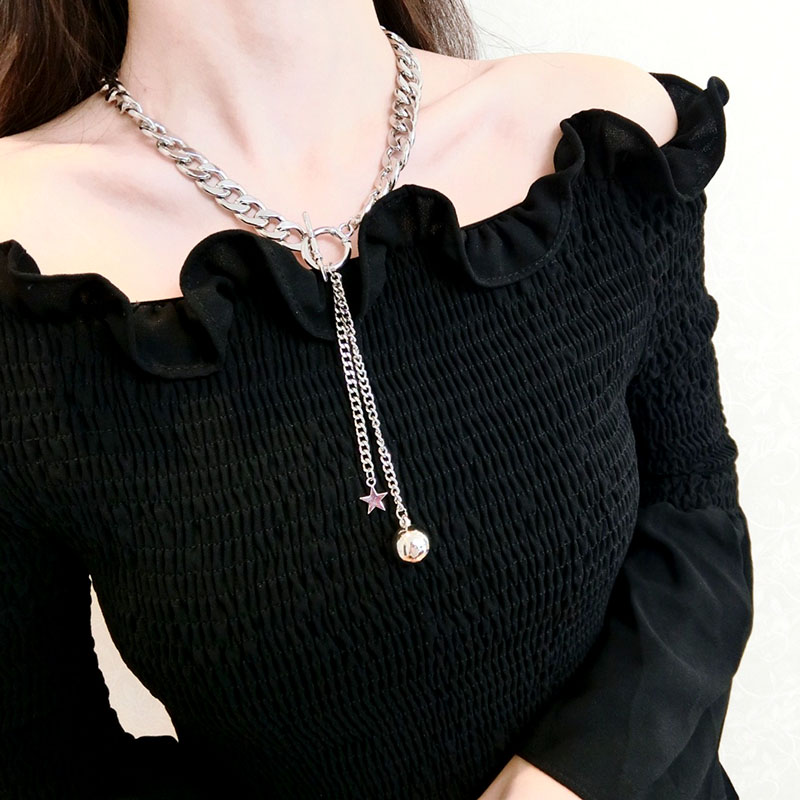 High Quality Star Ball Pendant choker Necklace For Women Office Style Sweather Accessory Personality Temperament Chain Necklace