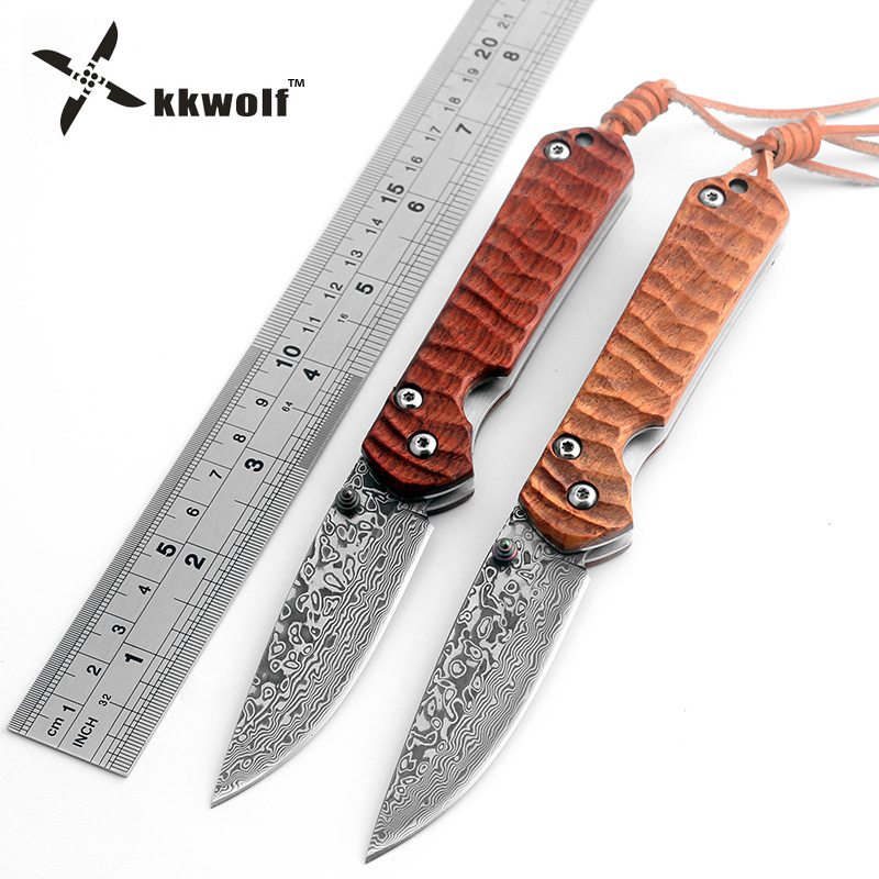 Hot KKWOLF Damascus Steel Tactical Folding Knife Sandalwood Handle Camping Survival Hunting Knife Damascus Pocket Knife EDC Tool kkwolf damascus steel antler handle fixed blade knife survival camping tactical hunting knife pocket multi tools lowest price