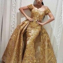 kejiadian Evening Dresses Mermaid Prom Dress with Gold