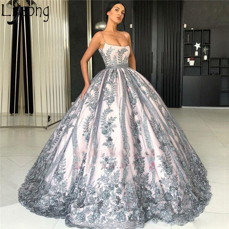 2019 Luxury Spaghetti Straps   Prom     Dresses   Full Lace Appliques Princess Ball Gown Formal Evening   Dress   Silver Grey Party Wear
