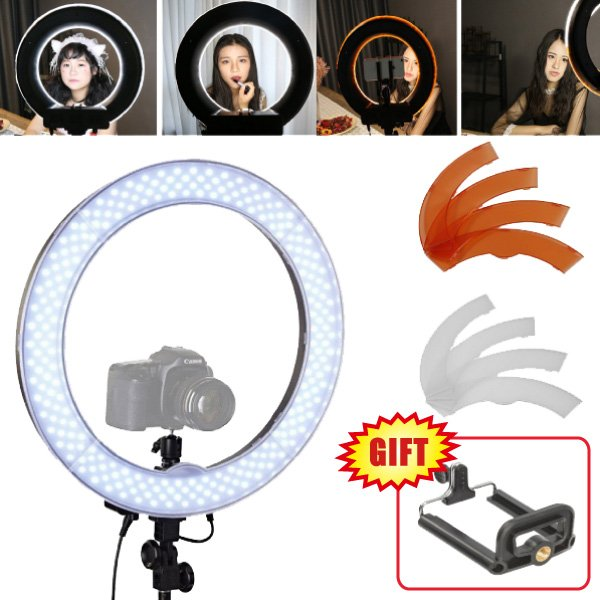 Studio 19 / 48cm 55W Dimmable LED Ring Light Lamp + Color Filter & Camera holder for Video Photo Makeup Beauty Lighting Selfie studio 19 48cm 55w 5500k dimmable led ring light lamp with color filter for video photo makeup beauty selfie lighting ru