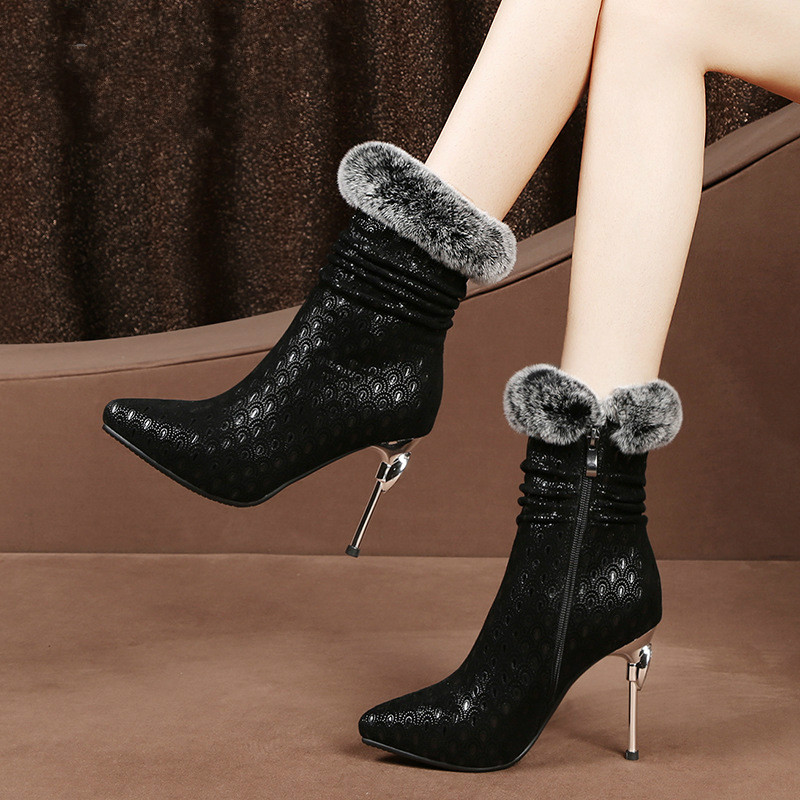 2018 winter new high-heeled ankle boots female leather womens boots pointed waterproof platform rabbit hair low boots.2018 winter new high-heeled ankle boots female leather womens boots pointed waterproof platform rabbit hair low boots.