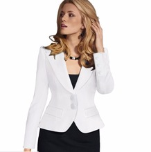 Woman solid Long sleeve two buttons OL suits Notched Blazer office lady coats  working outwear high quality coats