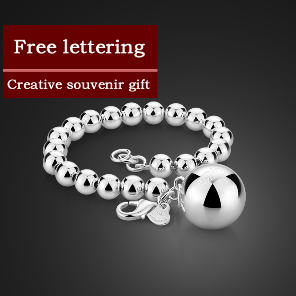 Fashion 925 sterling silver round bead bracelet Glamor lady silver bracelet 6MM/8MM/10MM bracelet silver Jewelry wholesale