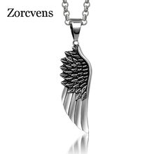 ZORCVENS Men Choker Necklaces Stainless Steel Vintage Gothic Feather Angel Wing Pendants Necklace Retro Punk Jewelry Never Fade(China)
