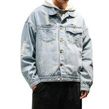 Hot Sale Men Autumn Jeans Jacket Loose Plus Size Hole Denim Jackets Male Casual Turn Down Collar Windbreaker Outwear Coat 5XL-M