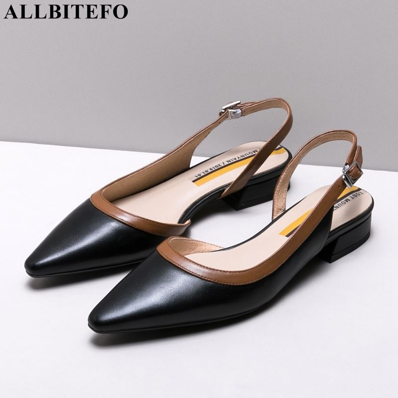 ALLBITEFO new summer full genuine leather low heeled comfortable office ladies shoes women sandals party women