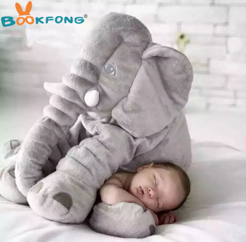 BOOKFONG 40/60cm Infant Plush Elephant Soft Appease Elephant Playmate Calm Doll Baby Toy Elephant Pillow Plush Toys Stuffed Doll 40 60cm elephant plush pillow infant soft for sleeping stuffed animals plush toys baby s playmate gifts for children wj346