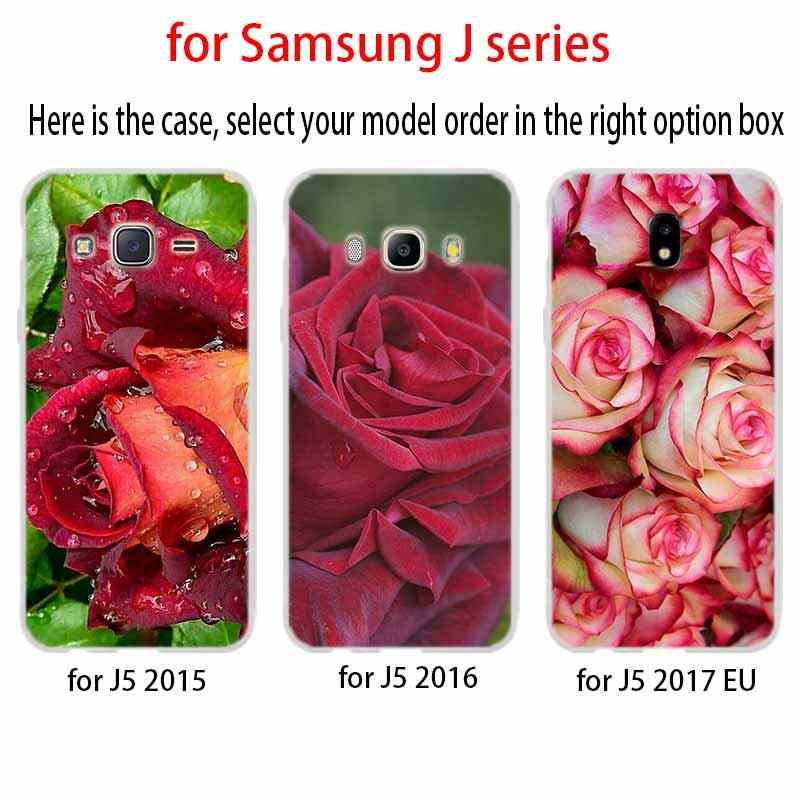 Bela rosa do projeto da flor Para A Caixa Do Telefone Samsung Galaxy j6 J8 J7 J5 J3 J4 Plus 2018 2017 2016 J610 prime Soft Silicone Coque