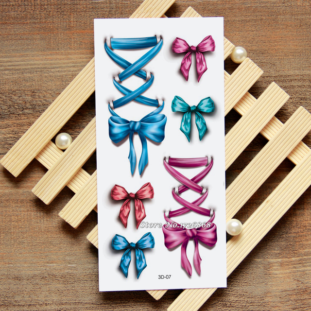 Silk Bow 3D Temporary Tattoo Body Art Flash Stickers Waterproof Car Styling Home Decor