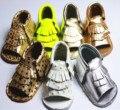 Super Soft Shine Dot Golden Silver Pink Tassel Fringe Thickness Genuine Leather Kids Summer Baby Girl Sandals 0-24Months
