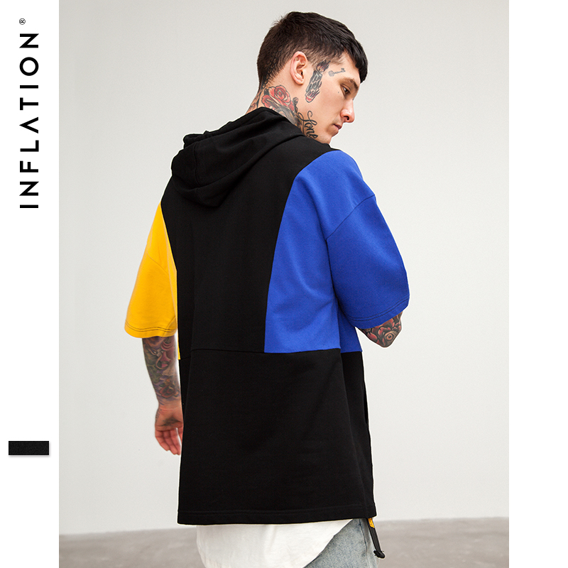INFLATION 2018 SS Stitching Hoody Short Sleeve T-shirt High Street Loose Drawstring Hoodie T-shirt Streetwear Hip hop Tees 8156S