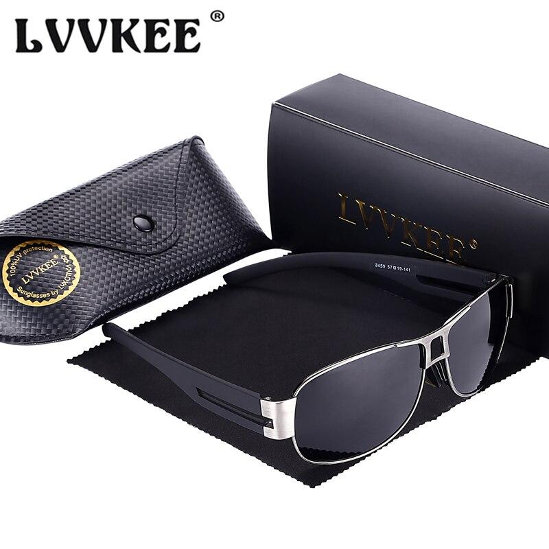 LVVKEE Módní polarizované pánské sluneční brýle Značka Designer Metal Frame Driving Sun Brýle pro muže UV400 Gafas De Sol s pouzdrem
