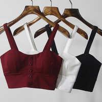 Gkfnmt Crop Top Frauen Camis Halter Top Frauen Camisole 2020 Sommer Sexy Sleeveless Dünnen Niedrigen Brust Taste Roupas Femininas