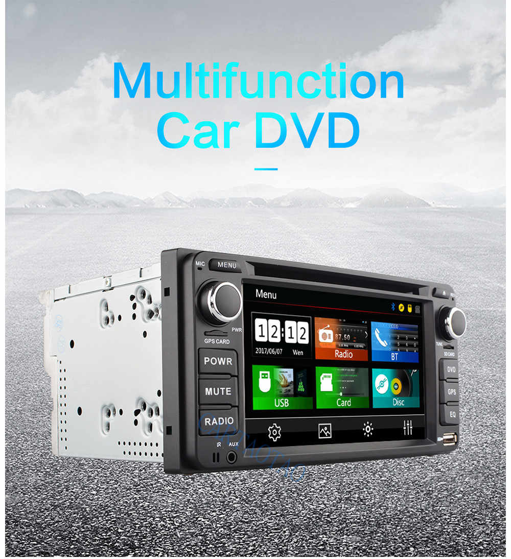 Car DVD disc player 7'' capacitive screen mirror-link multimedia player 2din car stereo radio Bluetooth USB2.0 MP5 DVD corolla
