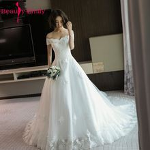 Beauty Emily Luxury Lace Tiered White Wedding Dresses 2017 Party Bridal Prom A-Line Cathedral Train