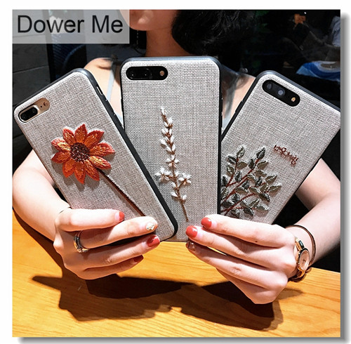 Dower Me Luxury Retro Korea Fashion Fresh Beautiful Embroidery Flower Cloth Phone Case Cover For Iphone 8 7 6 6S Plus