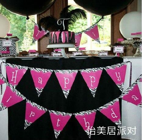 Feliz cumplea os rosa de la cebra de la fiesta presidente for Decoracion cebra