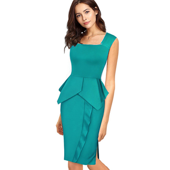 Casual Women Office Work Solid Sleeveless Pencil Dress Elegant Square Collar Bodycon Knee-Length Slim Summer Dress