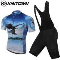 XINTOWN Pro Bike Jersey 2017 Bib Shorts Sets blue Male Ropa Ciclismo Cycling Top Bottom Men Riding mtb Bicycle Clothing Suits