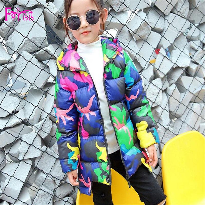 Kids Children's Clothing Outerwear Down Parkas children coat girls Boy down coat winter Full Print          children park