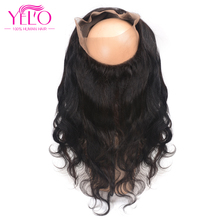 YELO Hair Pre Plucked 360 Lace Frontal Closure With Baby Hair Brazilian Body Wave Frontal Natural Hairline Non Remy Human Hair