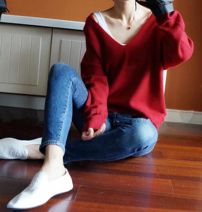 2019 새로운 캐시미어 스웨터 여성 섹시 빅 v 칼라 풀오버 숙녀 패션 박쥐 슬리브 스웨터
