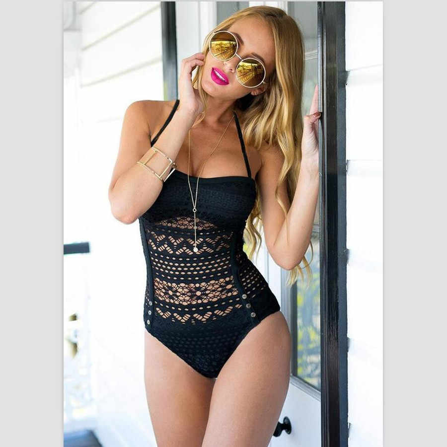 016013dd68b Sexy Lace S-2XL Plus size One piece Swimwear Women Badpak Maio Praia  Biquini Swimsuit