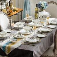 Цзиндэчжэнь керамическая посуда костяного фарфора домашнее Блюдо Набор Европейская миска тарелка соусник Золотая граница