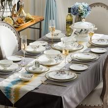 Jingdezhen ceramic tableware Bone China household dish set European bowl plate saucer gold border