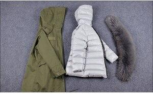 Image 5 - OFTBUY 2020 Real Fur Coat Winter Jacket Women Long Parka Natural fox Fur Collar Hood faux Fur Liner loose coat ins fashion new