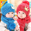 2016 New Winter Warm Baby Cap Autumn and Winter Children's Baby Crown Knitting Children Wool Girls Princess Hat + Scarf 2 Sets