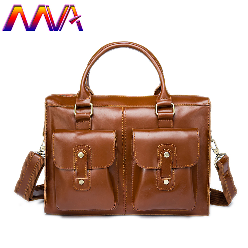 MVA Fashion men leather briefcase with 100% genuine leather women briefcase for 12 inch laptop bag men shoulder bags стоимость