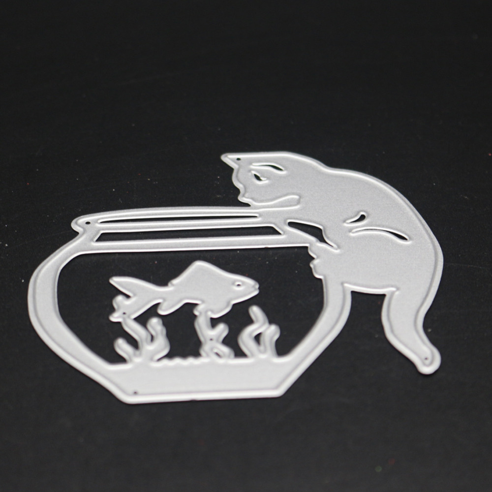 Swovo Die Metal Cutting Machine Cat Love Fish Tank Dcorative Embossing Craft Scrapbooking Dies Cuts Stamp Paper Card Stencil