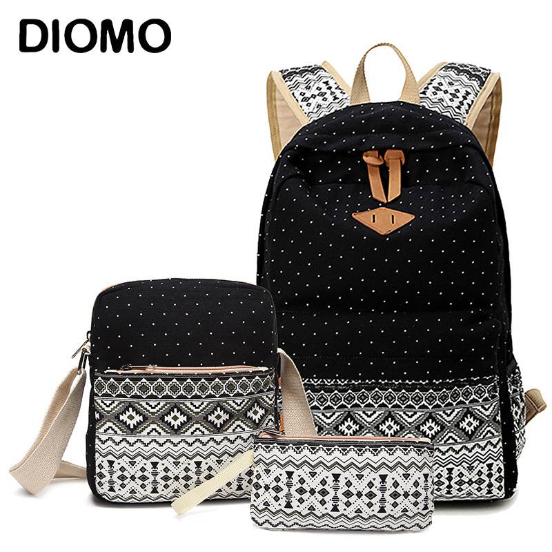 DIOMO School-Bags-Set Backpack Canvas Girls High-Quality for Female Feminine