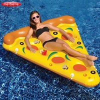 180*150cm PVC Swimming Pool Water Toy Giant Yellow Inflatable Pizza Slice Floating Bed Raft Swimming Ring Air Mattress