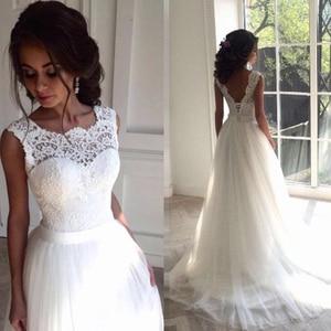 Image 2 - Женское кружевное свадебное платье, Пляжное Платье трапеция из тюля, свадебное платье в богемном стиле, лето 2020