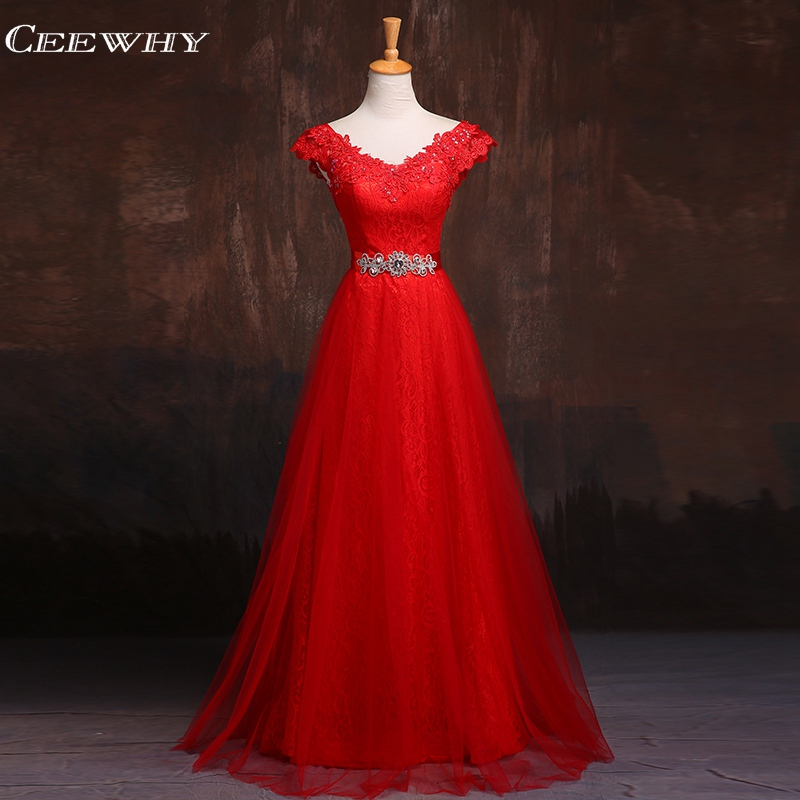 CEEWHY Burgundy Appliques Lace Evening Dresses Long Prom Dresses Crystal Evning Gown Robe De Soiree Longo Vestidos de Festa(China)