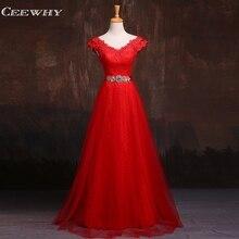 CEEWHY Burgundy Appliques Lace Evening Dresses Long Prom Crystal Evning Gown Robe De Soiree Longo Vestidos de Festa