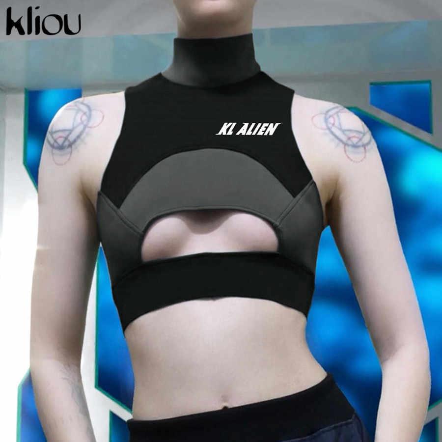 Kliou Новый женский летний эластичный модный топ с высоким воротником с разрезом двухцветная майка для фитнеса с буквенным принтом