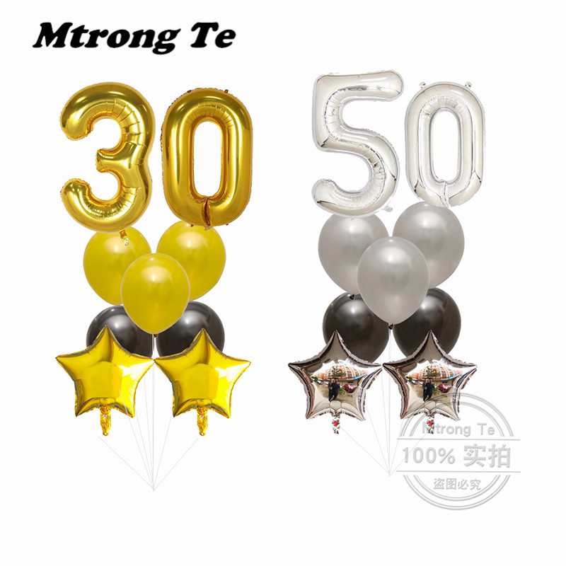 9pcs/lot 40inch Gold/Silver Number Digital Helium Foil Balloons 1st 30 40 50 Birthday Party Decoration Baby Shower Ball Supplies
