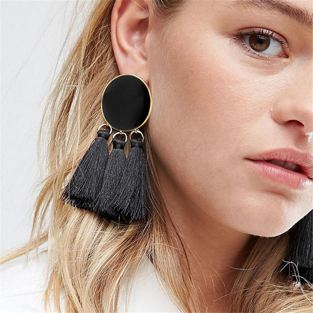 17 KM Bohemian Geometric Long Tassel Drop Earrings For Women Silk Fabric Pendant Dangle Earring Statement Ethnic Jewelry 6 Color