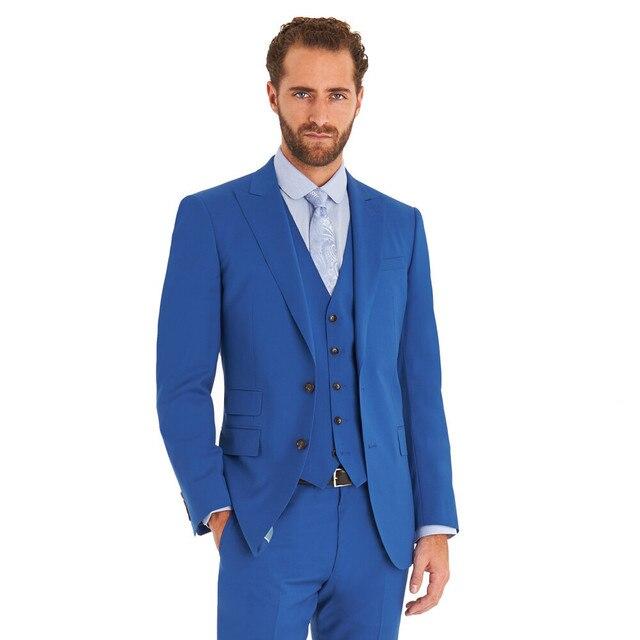 bd4a3cff3ff Custom Royal Blue Groom Wedding Suits Cheap Men Tuxedos Farmol Business Suit  Esmoquin terno masculino (